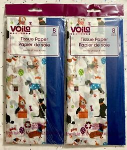 """VOILA PUPPY DOGS Gift Wrap Birthday Tissue Paper W/Blue 20"""" X 20""""- 2 Packs Of 8"""