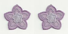 2 pc Purple 2 Layer Organza Flower Floral Embroidery Applique Patch