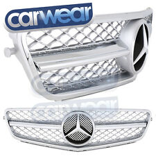 MERCEDES BENZ W204 C-CLASS 08-14 SILVER CHROME BAR STYLE GRILLE C200 C300