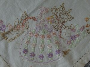 antique hand embroidery tray dressing table cover 1930s Crinoline lady