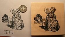 Alice in wonderland's queen with Cheshire cat rubber stamp P50