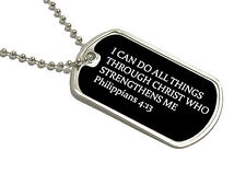 I Can Do All Things Through Christ Dog Tag Keychain