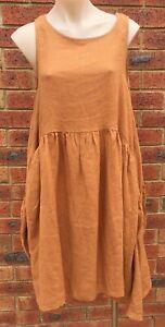 Rust Sleeveless Flare Midi Dress Side Pockets Linen NWT size 10 12 14 16 18