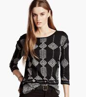 Lucky Brand 3/4 Sleeve Knit Top Tee Black Tan Geometric Pattern Size M