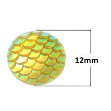 10 pcs. Yellow Iridescent Mermaid Fish Scales Dragon Cameo Domes Cabochons- 12mm