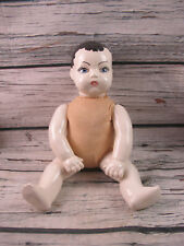 """Vintage Composition Cloth 14"""" Doll Eggshell White Skin Molded Hair Hand Painted"""