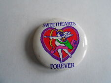 Vintage 1989 Sweethearts Forever Valentines Day Cupid Pinback Button