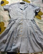 Vintage 60s Short Summer Dress Baby Blue Check Pleated Skirt Size 10/12    #360#