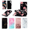 For Samsung Galaxy S10 S9 S8 Note 10 Plus Retro Marble Leather Wallet Case Cover
