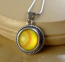 SOFTBALL LOVE snap button rope pendant w/ steel necklace gift for women