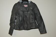 URBAN REPUBLIC FAUX LEATHER JACKET W/ REMOVABLE  GRAY HOOD SIZE 7 ~ OLIVE