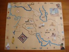 Vintage Hand Painted Water Color Iraq and Iran Map Folk Art.Very Good Condition