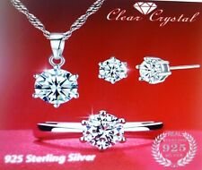 Crystal 3pc Gift Wedding-Ring sz 8 Fashion 925 Sterling Silver Jewelry Set Clear
