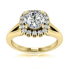 Halo 3/4 Carat SI2/H Round Cut Diamond Engagement Ring Yellow Gold