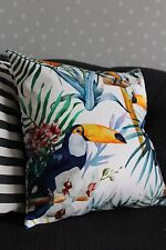 Tropical Floral Toucan Cushion Cover. Parrot, Bird, Velvet, Luxury, Palm leaves