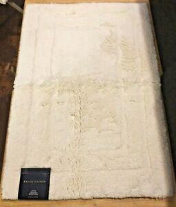 RALPH LAUREN Bath Rug Plush Non Slip 100% Cotton-17x24-NWT-CREAM-(Retail $60)