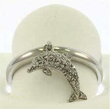 Genuine Diamond Dolphin Ring in 10 kt White Gold