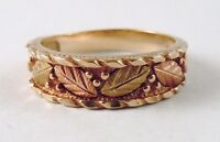 100% Genuine 10k Solid Rose & Yellow Gold Leaves Black Hills Ring Sz 6 US