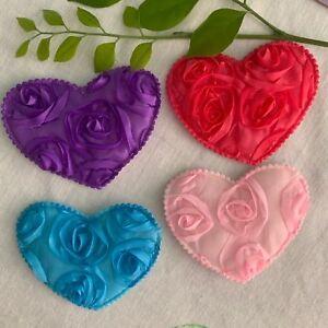 2/4pcs Love Big Padded Heart Appliques Wedding Decor Sewing Crafts sew #1218