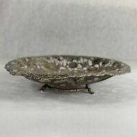Antique Chinese Solid Silver Wang Hing Dish Bamboo Legs Dragon Chasing Pearl
