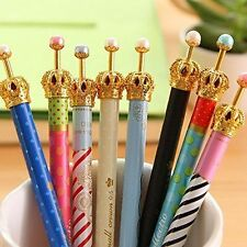 Set of 12 Lovely Cute Crown Design Roller Pen Gel Ink for School Office Family
