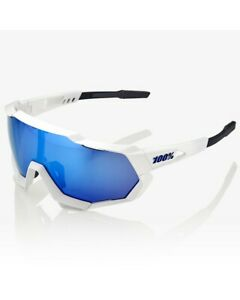 100% Glasses Speedtrap Matte White - Hiper Blue Multilayer Mirror + Lens Clear