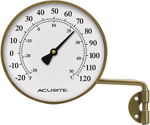 Dial Face Indoor Outdoor Thermometer Swing Metal Mounting Vintage Brown 4-Inch