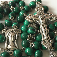 Natural 6MM Malachite & SILVER ROSE BEADS ROSARY & CROSS crucifix Gift Necklace