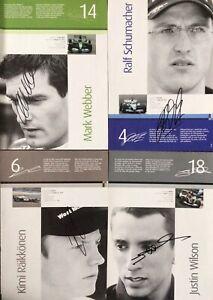 WEBBER SCHUMACHER WILSON RAIKKONEN AUTHENTIC SIGNED F1 BOOK PAGE AFTAL#198