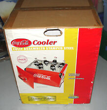 DRINK COCA COLA RED PICNIC COOLER EMBOSSED LOGO STAMPED STEEL 2001 L@@K