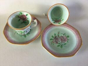 Adams Calyx Ware 2 Demitasse Tea Cup & Saucer Set s 1788 Floral Pattern Old Mark
