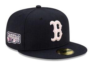 Boston Red Sox New Era Hat 2007 World Series Patch Navy Hat Pink Brim Size 7 7/8