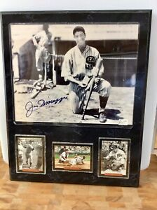 Joe DiMaggio Autographed Picture Plaque Vintage and Cards