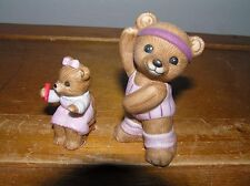 Lot of 2 Homco Porcelain Workout Exercise Girl & Child Bear on Chair Figurines –
