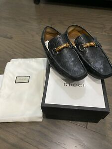 Gucci Loafers Leather GG Monogram Driver Shoes Horsebit Bamboo BLACK SIZE 10.5