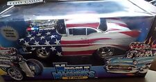 Muscle Machines 57 Chevy 1/18 Diecast Red White & Blue Car  Mint in Box