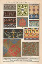 B0513 Ornamenti policromi - Cromolitografia d'epoca - 1904 Vintage print