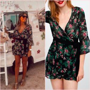 SALE Floral Sheer Belt Flared Long Sleeve V Neck Playsuit L UK 12 US 8 Blogger ❤