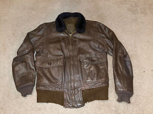 Vintage US Navy G-1 Leather Flight Bomber Jacket Size 40 Military Authentic