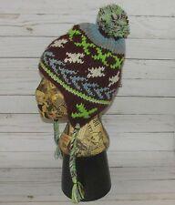 Nepal Winter Ski Snowboarding Purple Blue Green Sherpa Knit Hat Ear flap Pom Pom