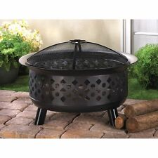 Iron Outdoor Fire Pit BBQ Grill Metal Campfire Stove Wood Burning Free Shipping