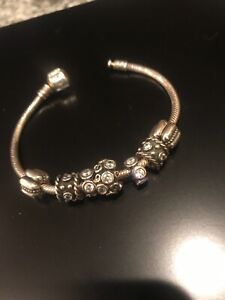 Pandora Bracelet 18 Cm  7.1 Inch New Silver 7 Beads White Sparkle Retired