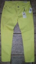 Buffalo David Bitton Gibson Cropped Mid Rise Neon Yellow Stretch Jeans 27 X 24