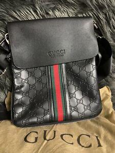 New Gucci Mens BlackLeather Messenger Crossbody Bag Fancy Men Bag With Tag