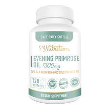 Evening Primrose Oil 1300mg (120 Softgels) - 10% GLA from Cold-Pressed Oil