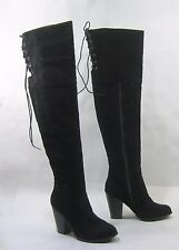 "Blacks  4""block high heel  back lace sexy long over  knee boots  size  5"