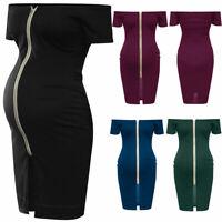 Women Maternity Pregnancy Nursing Summer Solid Off Shoulder Dress Clothes S-XL