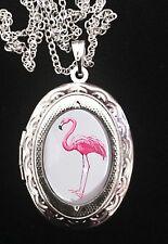 Pink Flamingo Ornate Silver Locket + Necklace 1960's Kitsch Retro Camp Divine