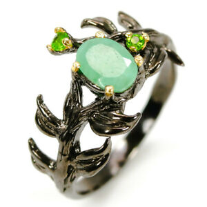 Natural Gemstone Emerald 925 Sterling Silver Ring Christmas Gift  /RVS307