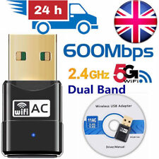600Mbps Dual Band USB WiFi Dongle Wireless LAN Adapter 802.11ac/a/b 5Ghz/2.4Ghz